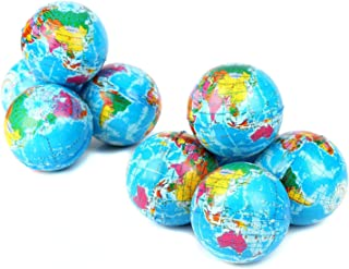 12 Pack - Mini Foam World Globe Squeeze Stress Balls for Adults & Kids