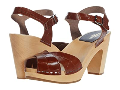 Swedish Hasbeens Merci Sandal (Cognac Croc) Women
