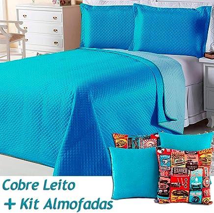 5685816b5c Kit Cobre Leito c  4 Almofadas Cheias Dual Color Turquesa Azul Dupla Face  Queen