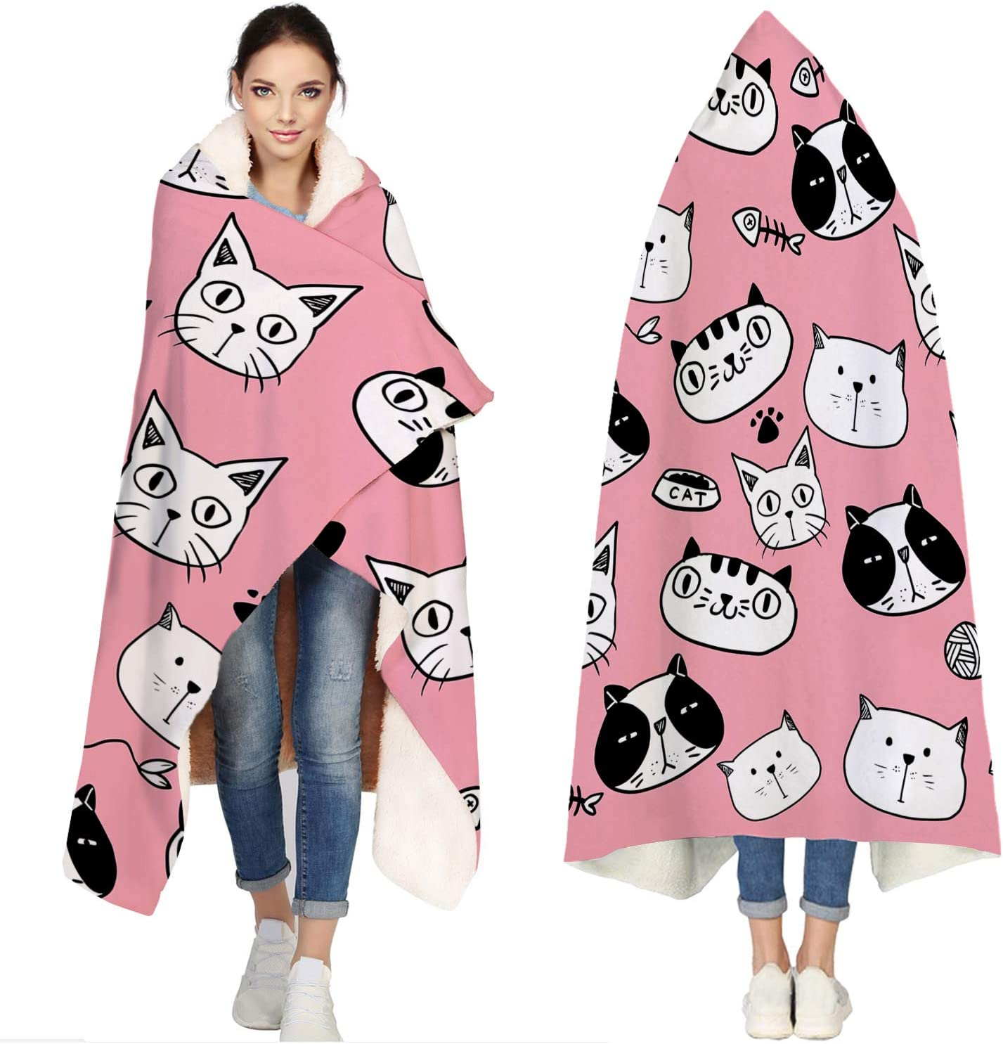 Seven Roses Hooded Blankets Fort Worth Mall for Cartoon Fashion Freehand Adults Ca Cute