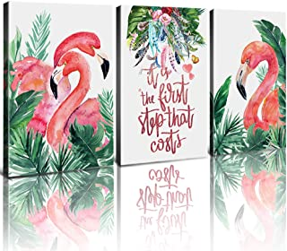Flamingo Decor for Bathroom Sweet Girls Room Canvas Prints Wall Art Framed Paintings Tropical Plants Feather Jungle Green Leaves Pictures Quotes & Sayings Boho Decoration Set of 3 Piece 12x16 Inch