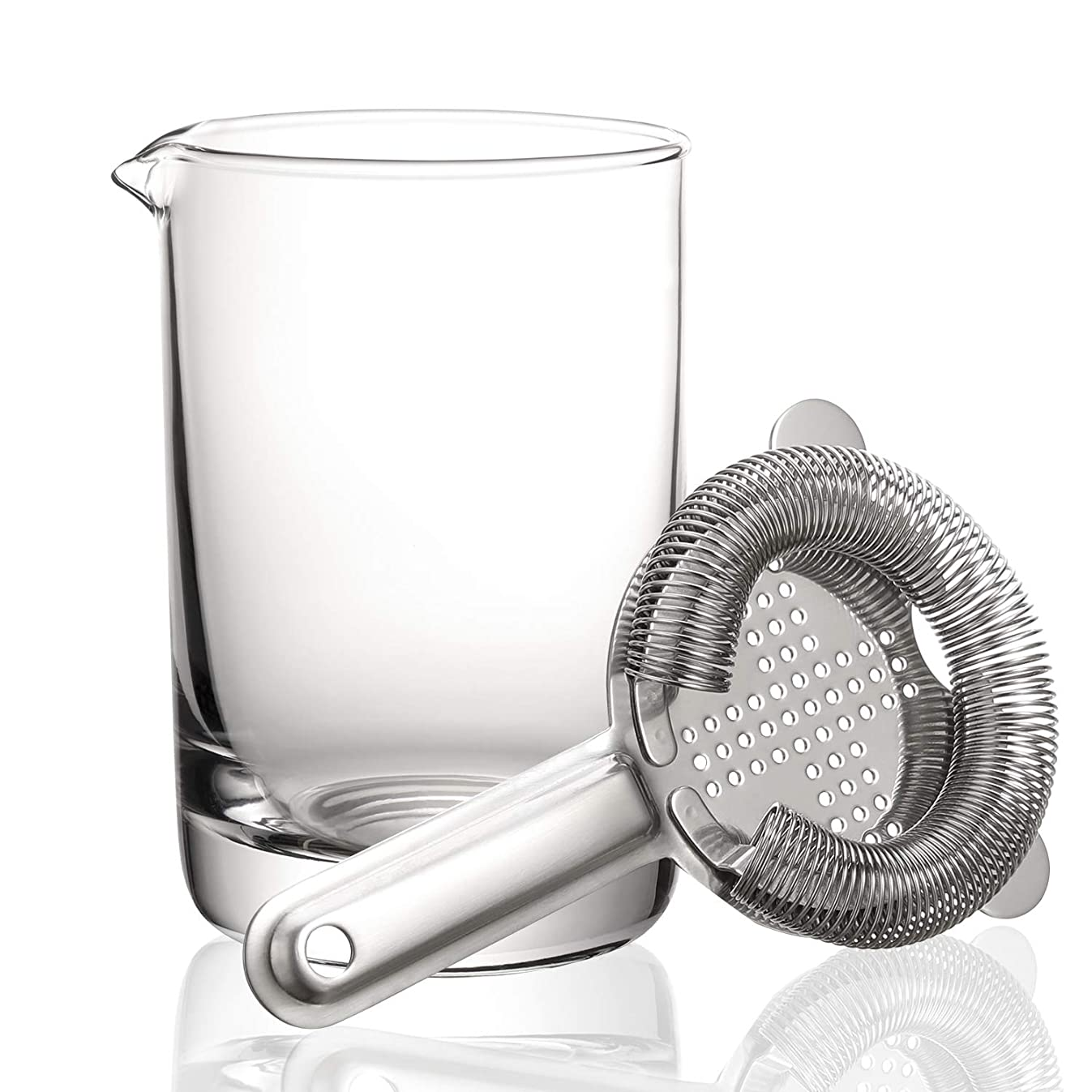 Hiware Cocktail Mixing Glass with Strainer - Professional Bartender Kit, 550ml