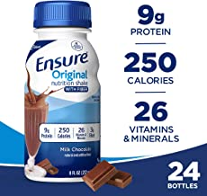 Ensure Original Nutrition Shake with Fiber, 9g High-Quality Protein, Meal Replacement Shakes, Chocolate, 8 Fl Oz, Pack of 24