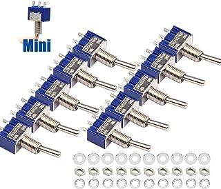 10 Stück Kippschalter, Mini Schalter AC 125V 6A ON ON 3 Pins 2 Positionen mit Metallhebel, SPDT Toggle Switch Einzelanschluss MTS102 Microschalter für Arduino Auto Truck Miniatur Kippschalter   Blau