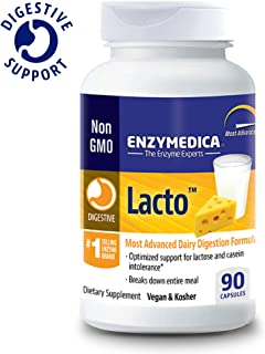 Enzymedica, Lacto, Enzyme Support for Digestive Relief from Lactose Intolerance, Vegan, Gluten Free, 90 Capsules (FFP)