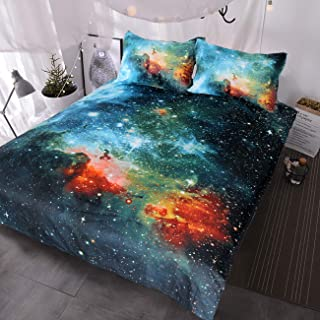 BlessLiving Galaxy Bedding Kids Boys Girls Outer Space Bedding Sets 3 Piece Red Blue Green Nebula Duvet Cover Universe Bed Set (Full)