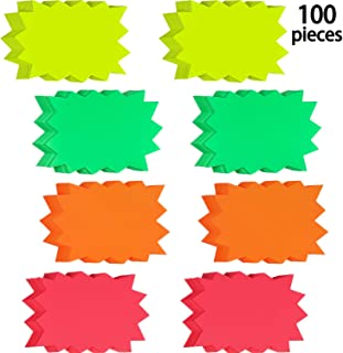 100 Pieces Fluorescent Signs Starburst Signs Burst Paper Signs for Retail Store Party Favors, 4 Bright Colors