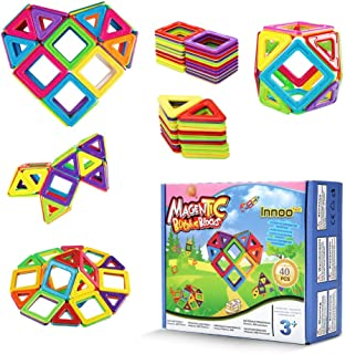 Innoo Tech 40Piece Large Size Magnetic Building Blocks, Fully Magnetic Kit, ABS Safety Plastic, Construction Toys Educatio...