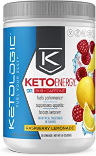KetoLogic BHB Exogenous Ketones Powder with Caffeine (30 Servings) - Keto Pre-Workout, Boosts Ketosis, Energy & Focus - Support Keto Diet with Beta-Hydroxybutyrate Keto BHB Salts - Raspberry Lemonade