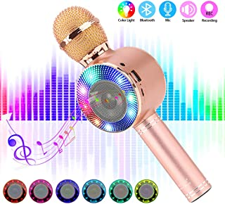 Bluetooth Karaoke Microphone with LED Lights, Portable Karaoke with Speaker for Kids Adults, Handheld Karaoke Machine for Home KTV Party Birthday Gifts, Compatible for Android & iOS (Rose Gold)