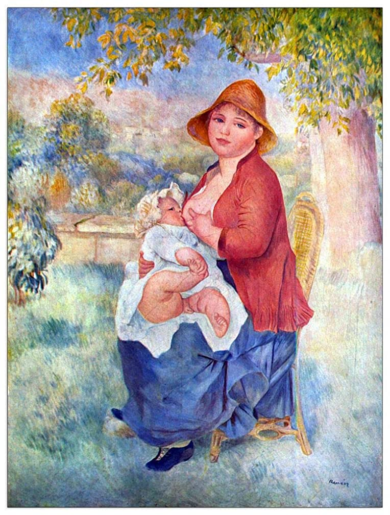 ArtPlaza TW92813 Renoir Pierre-Auguste - The Child at The Chest Maternity Decorative Panel 27.5x35.5 Inch Multicolored
