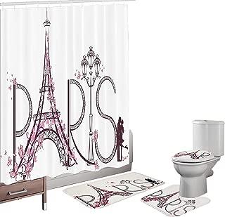 Amagical Paris Tower Eiffel with Paris Lettering Pink Flowers Couple Trip Print 16 Piece Bathroom Mat Set Shower Curtain Set Bath Mat Contour Mat Toilet Cover Waterproof Shower Curtain 12 Hooks