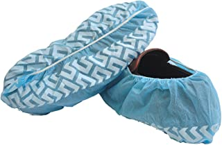 Raytex Premium Disposable Boot & Shoe Covers Non-Slip Polypropylene Durable Overshoes Protectors One Size Fit All Up to XL for Surgical Dental Medical Gardening Work Indoors(100 Pack,Blue)