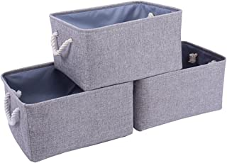 TheWarmHome Foldable Storage Basket with Strong Cotton Rope Handle, Collapsible Storage Bins Set Works As Baby Storage, Toy Storage, Nursery Baskets (Grey, 15.711.88.3in)