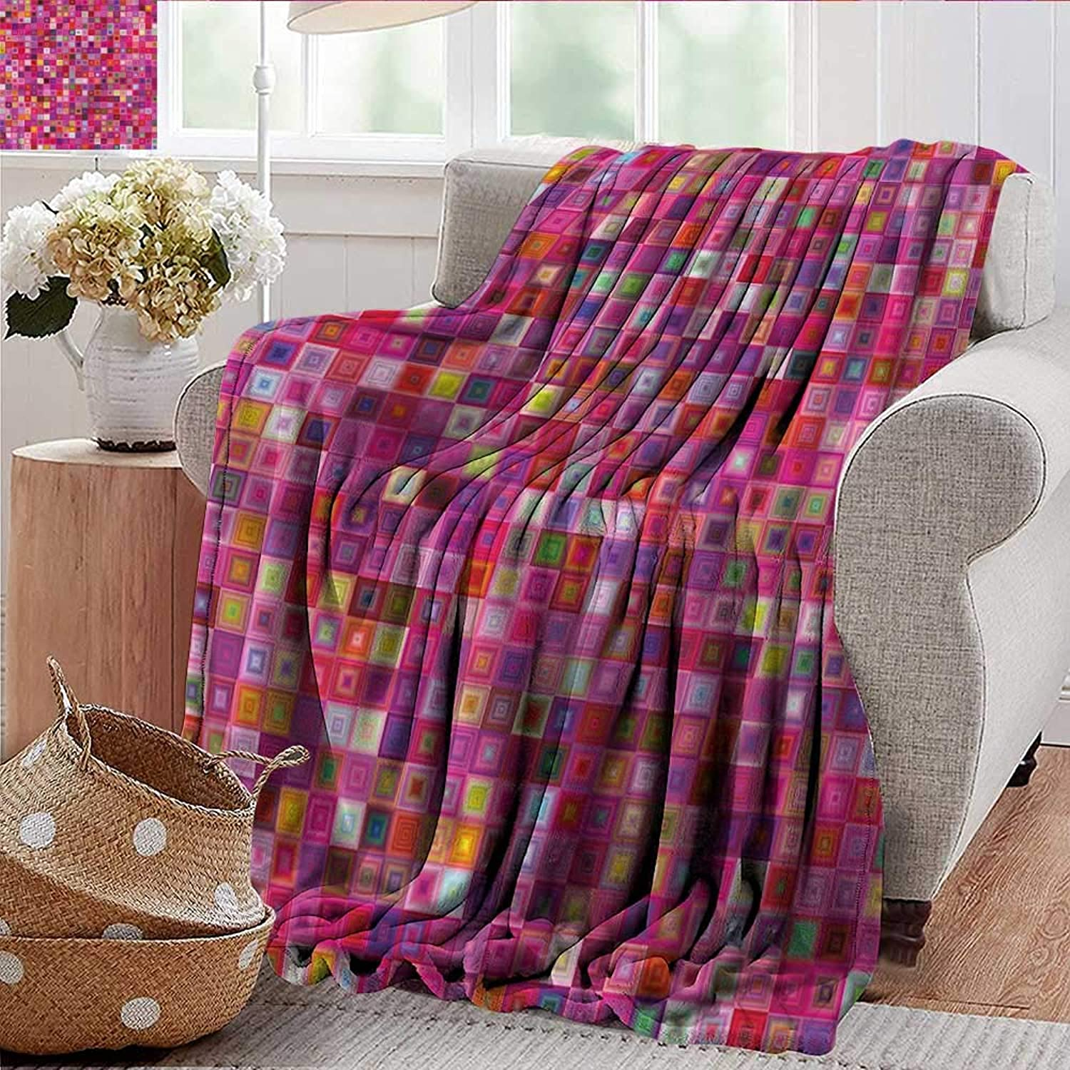 Xaviera Doherty Summer Blanket Pink,Square Grid Mosaic Pattern Weighted Blanket for Adults Kids, Better Deeper Sleep 35 x60