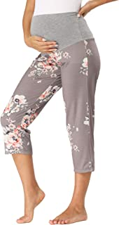 fitglam Women's Maternity Capris Shorts Over The Belly Pregnancy Lounge Yoga Pajamas Cropped Pants