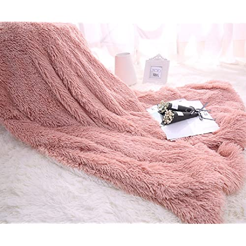 WINLIFE Super Soft Shaggy Faux Fur Long Hair Throw Blanket Cozy Elegant Decorative Blanket Pale Mauve