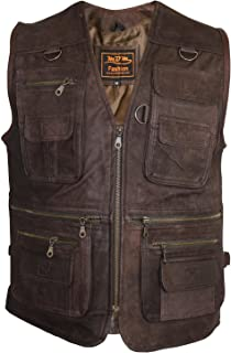 motard veste avec des poches MDM Biker Gilet veste en cuir cuir nubuck moto veste
