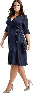 Women's Plus Size Ruffle Trim Wrap Dress