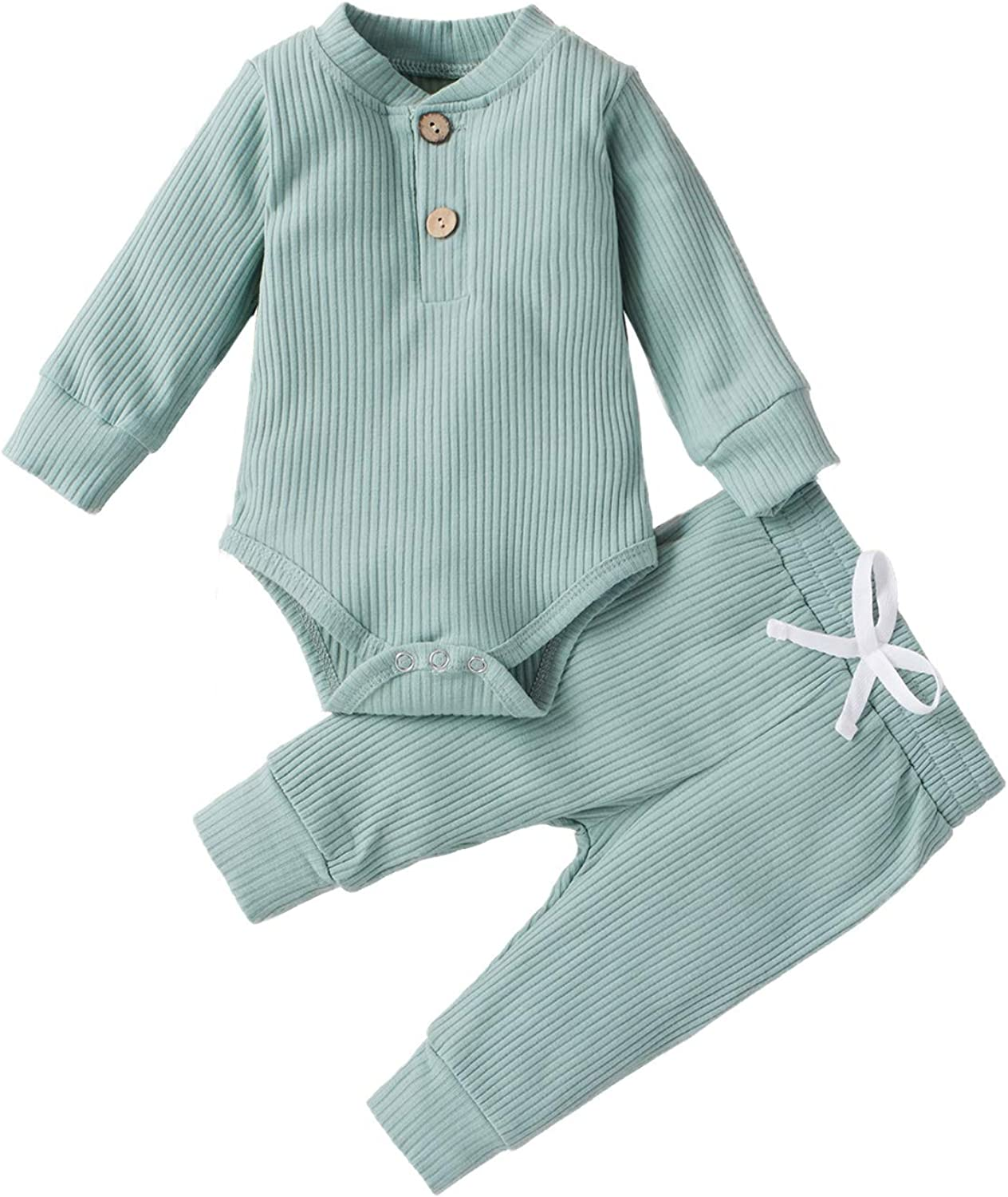 CETEPY Baby Boy Girl Clothes Infant Summer Outfits Solid Knit Ribbed Long Romper + Pants
