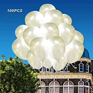 (100 Pack)12 Inch Thicken White Pearlized Latex Balloons -Creative Balloons for Party Supplies and Decorations, Christmas Party. Loritada