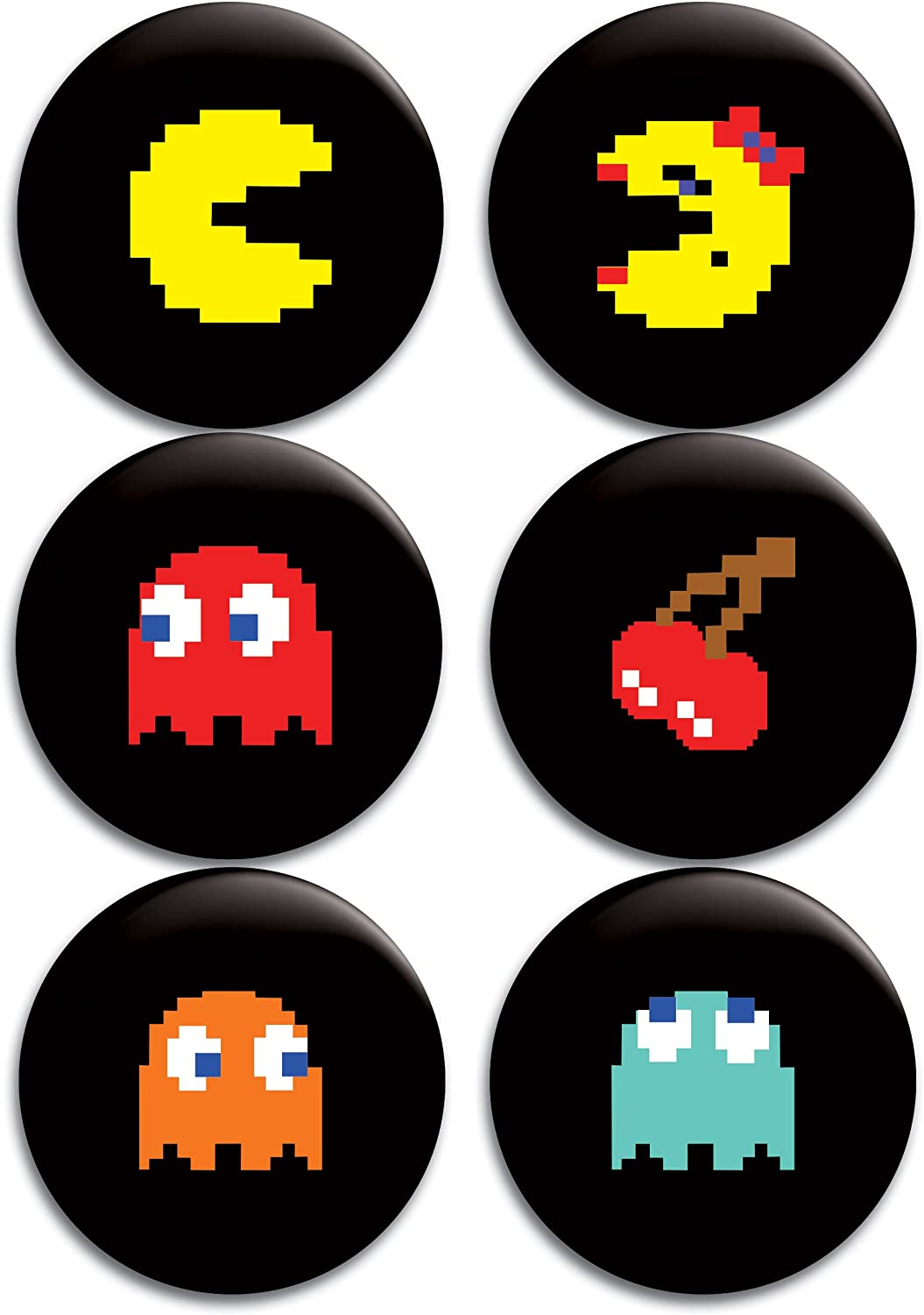Pac-Man Buttons/Badges/Pins Set : Clothing, Shoes & Jewelry