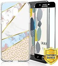 TJS Galaxy J7 2018/J7 Refine/J7 Star/J7 Eon/J7 TOP/J7 Aero/J7 Crown/J7 Aura/J7 V 2nd Gen Case, with [Full Coverage Tempered Glass Screen Protector] TPU Marble Transparent Clear Soft Skin Case (Leop)