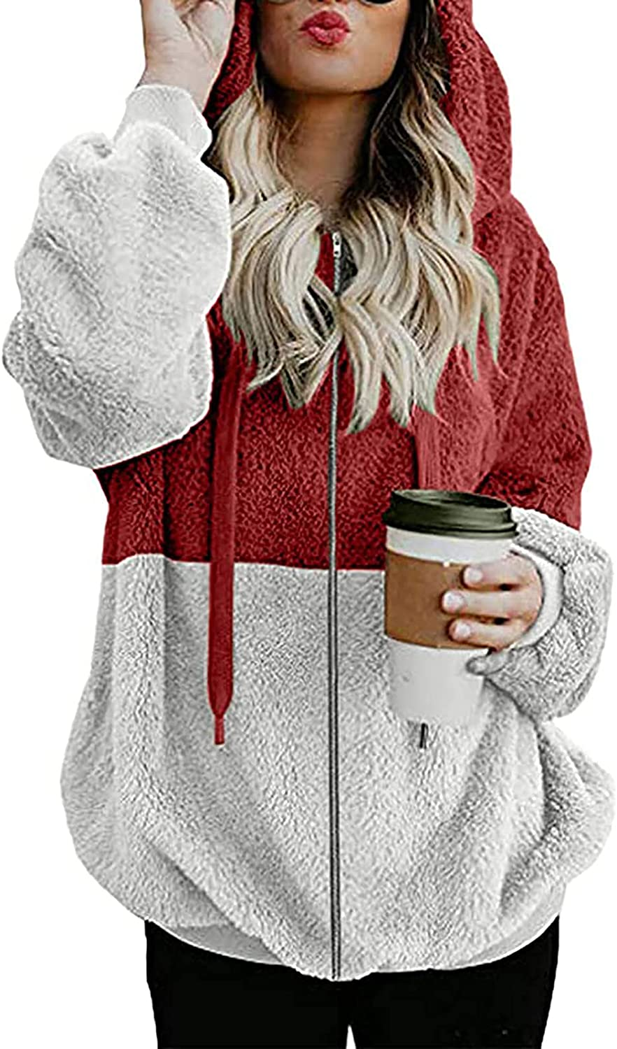 INESVER Translated Womens Warm Coat Oversize Time sale Zip Jacket Up Lo Sherpa Winter