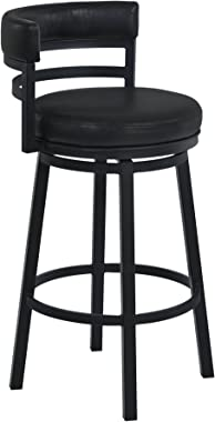 "Armen Living Madrid 26"" Counter Height Swivel Barstool in Ford Black Faux Leather and Black Metal Finish"