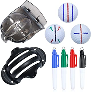 Cualfec 6 Pack Golf Ball Line Drawing Marker Golf Ball Liner Golf Ball Marking Tool Kit - 2 Golf Ball Marking Stencils and...