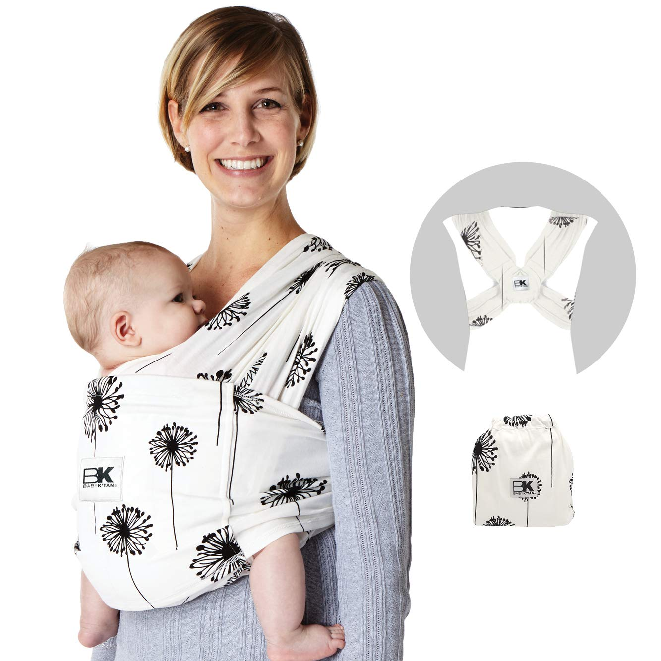 Baby K'tan Print Baby Wrap Carrier, Infant and Child Sling-Dandelion, Women 6-8 (Small), Men 37-38. Newborn up to 35 Pound Best for Babywearing.