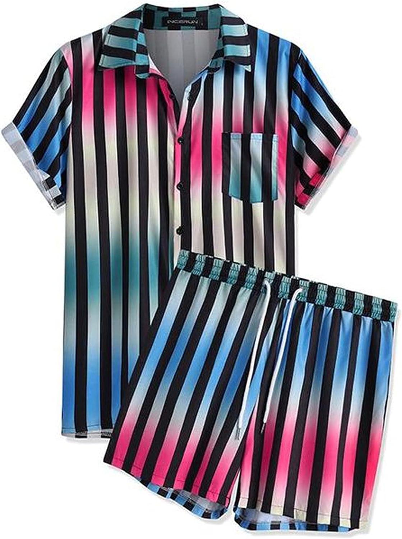 Men Striped Sets Gradient Tie Dye Short Sleeve Lapel Shirt Beach Shorts 2 Pieces Streetwear Mens Hawaiian Sets
