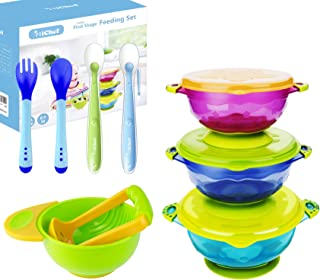 MICHEF Baby Bowls, Baby Feeding Bowls Set with 2 Hot Safe Baby Fork and Spoon, 2 Soft-Tip Silicone Baby Spoons, Mash and Serve Bowl - Baby Shower Gift Set of 3 Suction Baby Bowls for Toddler with Lids