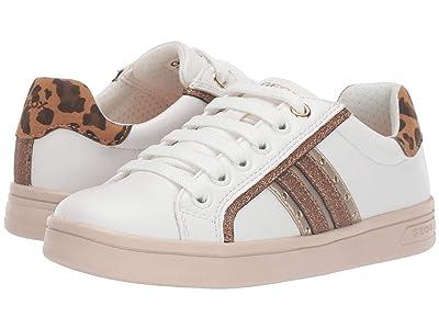 Geox Kids Jr Djrock 37 (Little Kid/Big Kid) (White/Brown) Girls Shoes