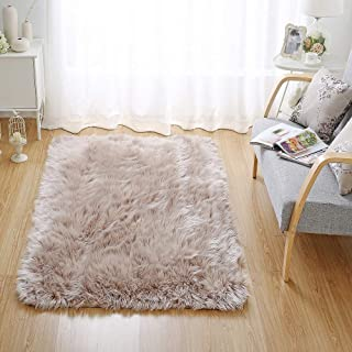 OJIA Deluxe Soft Fuzzy Fur Rugs Faux Sheepskin Shaggy Area Rugs Fluffy Modern Kids Carpet for Living Room Bedroom Sofa Bedside Decor(4 x 6ft, Light Coffee)