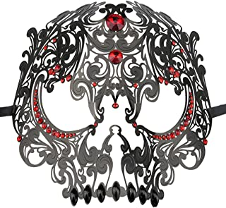 Skull Face Masquerade Masks Mardi Gras Party Mask with Rhinestones