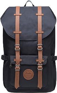 KAUKKO Vintage Rucksack mit Laptopfach für 14 Zoll für Business Wandern Reisen Camping, 19.7 L, 28  15  47 cm Schwarz JNL-EP5-11-03