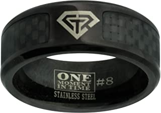 J198 LDS Unisex CTR Ring Black Carbon Fiber Superman Stainless Steel Size 8-13