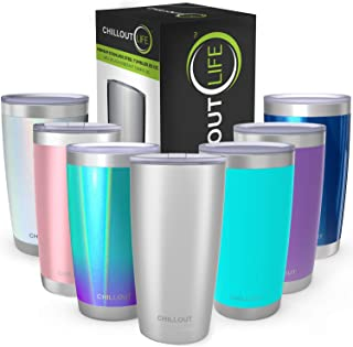 CHILLOUT LIFE 20 oz Stainless Steel Tumbler with Lid & Gift Box | Double Wall Vacuum Insulated Travel Coffee Mug with Splash Proof Slid Lid | Insulated Cup for Hot & Cold Drinks