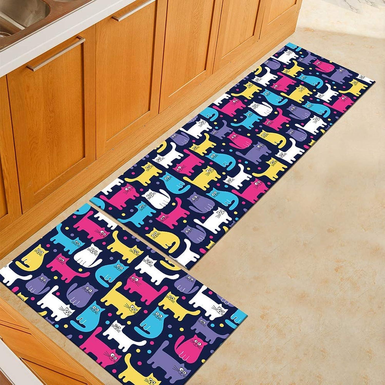 Comfortable Doormat 2 Piece Non-Slip Kitchen Mat,Rubber Backing Doormat Runner Rug Set, Flamingo Design (color   Two9, Size   40  60+40  120CM)