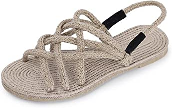 Women's Crossing Flat Sandal Braided Thick Soles Soft Non-Slip Beach Travel Casual Lignt Sandals