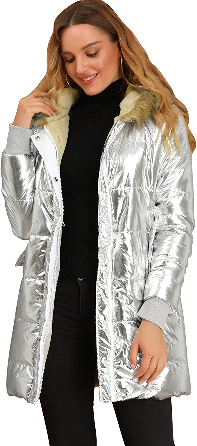 Allegra K Women's Faux Fur Sales of SALE items from new works Hooded Metallic Park Up Hip Max 73% OFF Zip Shiny