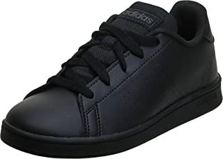 Adidas Advantage Faux Leather Perforated Side Heel Tab Logo Tennis Shoes for Kids