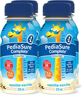 PediaSure Complete, Nutritional Supplement, 4 x 235 mL, Vanilla - Kids nutritional shake, containing DHA and vitamins that...