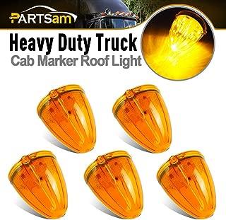 Partsam 5PCS 17LED Amber Cab Marker Top Roof Running Light LED Light Replacement for Kenworth Peterbilt Freightliner Mack Heavy Duty Trucks Waterproof Front Head Indicator Signal Light
