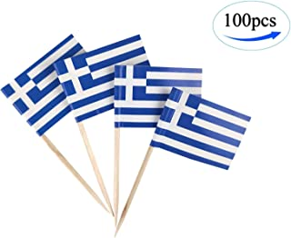 Greece Flag Greek Flags,100 Pcs Cupcake Toppers Flag, Country Toothpick Flag,Small Mini Stick flags Picks Party Decoration Celebration Cocktail Food Bar Cake Flags
