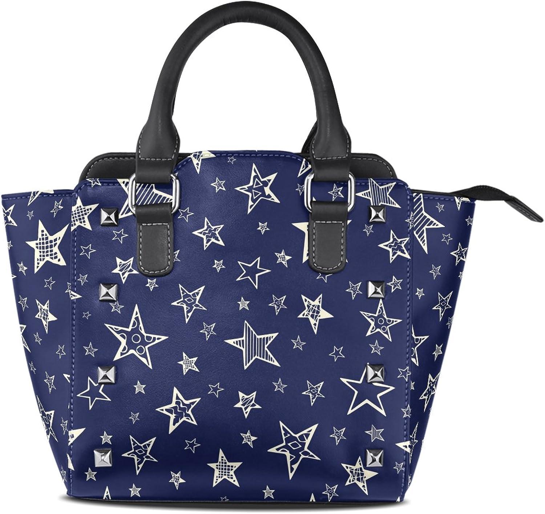My Little Nest Women's Top Handle Satchel Handbag Doodle Stars Ladies PU Leather Shoulder Bag Crossbody Bag