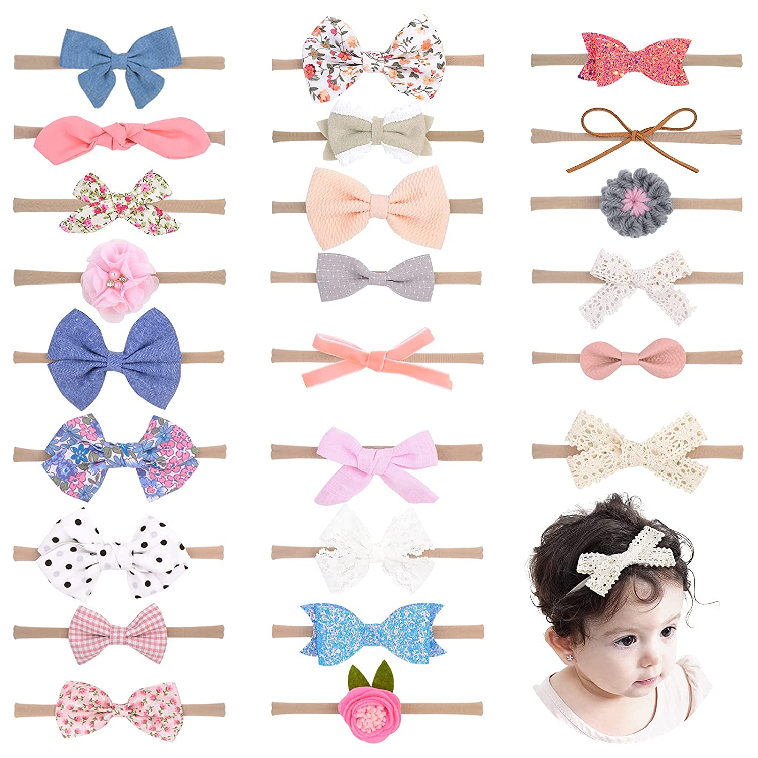 24PCS Baby Girls Flower and Hair Super beauty product restock quality top! Hairb Bows Nylon Soft Headbands 55% OFF