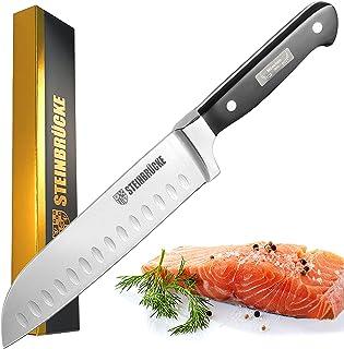 STEINBRÜCKE Santoku Knife - 7 inch Kitchen Knife Forged from German Stainless Steel 5Cr15Mov(HRC58), Full Tang, Razor Shar...