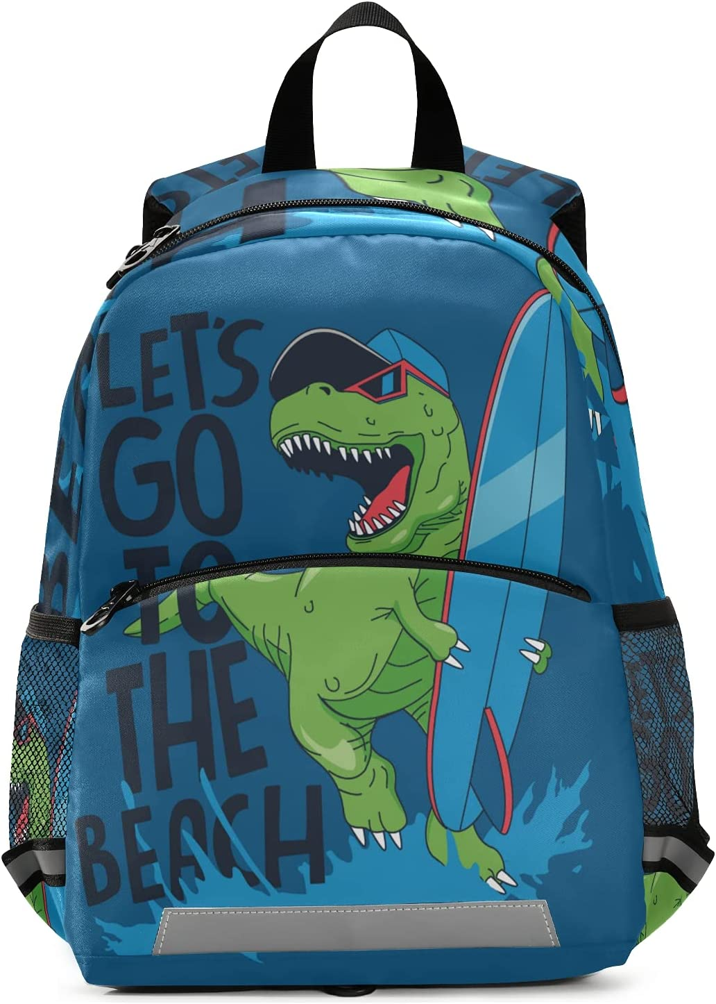 Surfing Dino Backpack for Boys and Girls Kid's Preschool Nursery Book bags Toddlers Kindergarten Schoolbags with Chest Clip and Safety Leash Children Daycare Bag Perfect Size for School and Travel